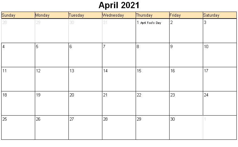 Free Monthly April Calendar 2021
