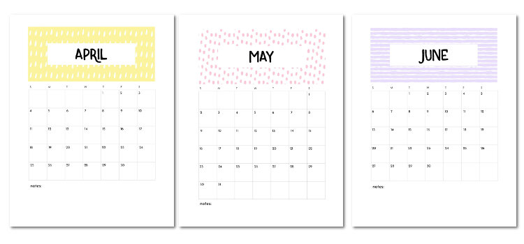 Free Printable April May June 2021