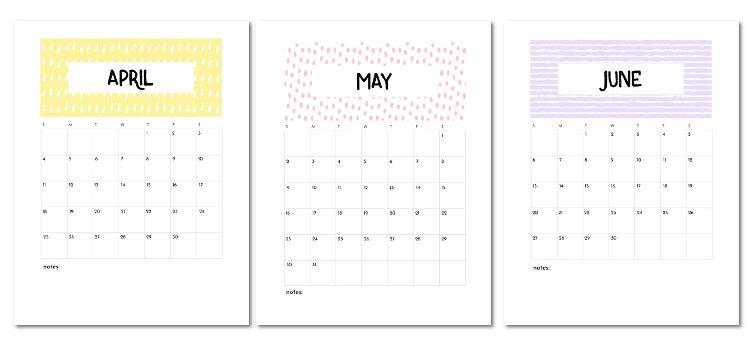 Free Printable April May June 2021