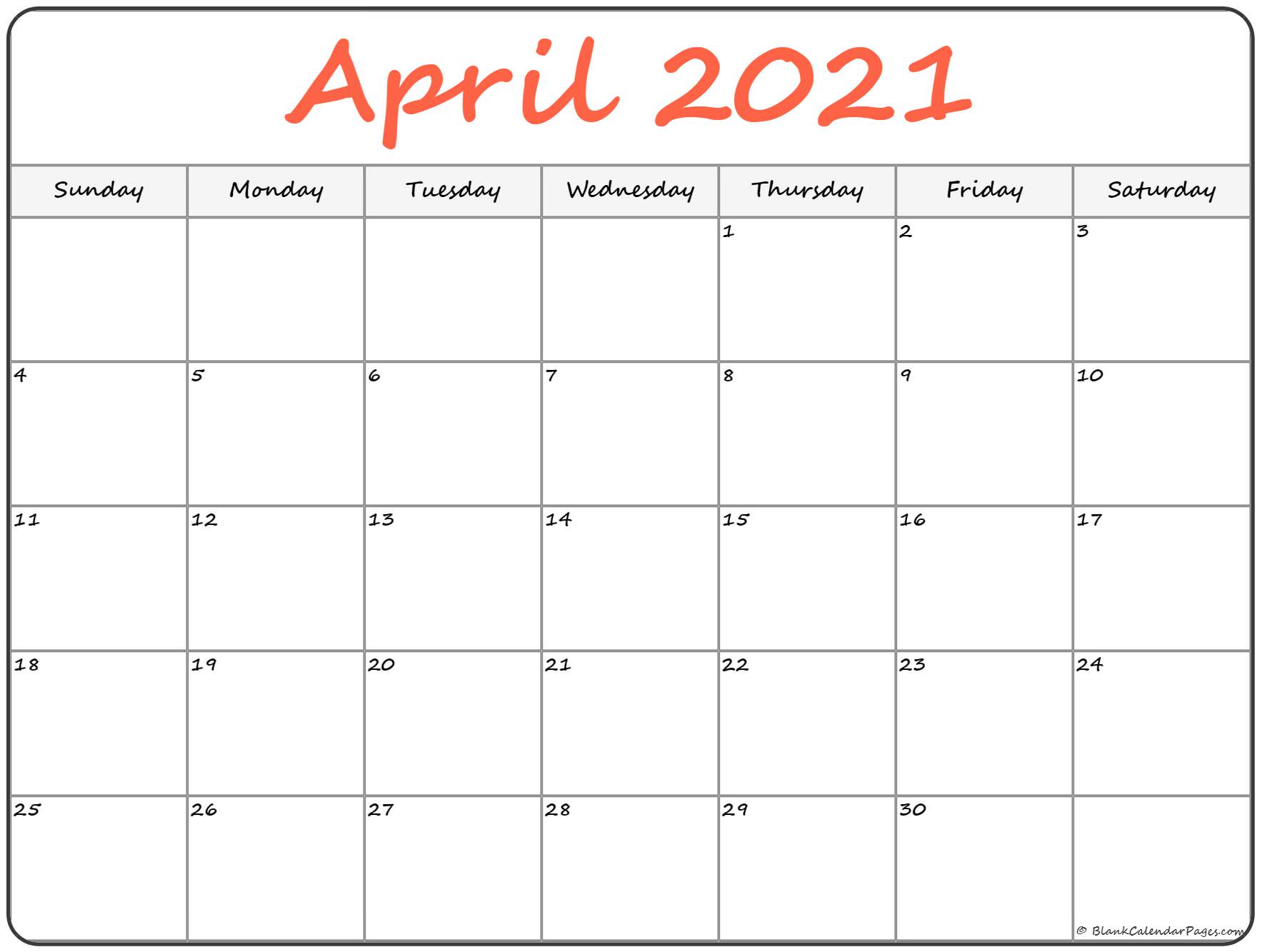 Free april 2021 calendar download