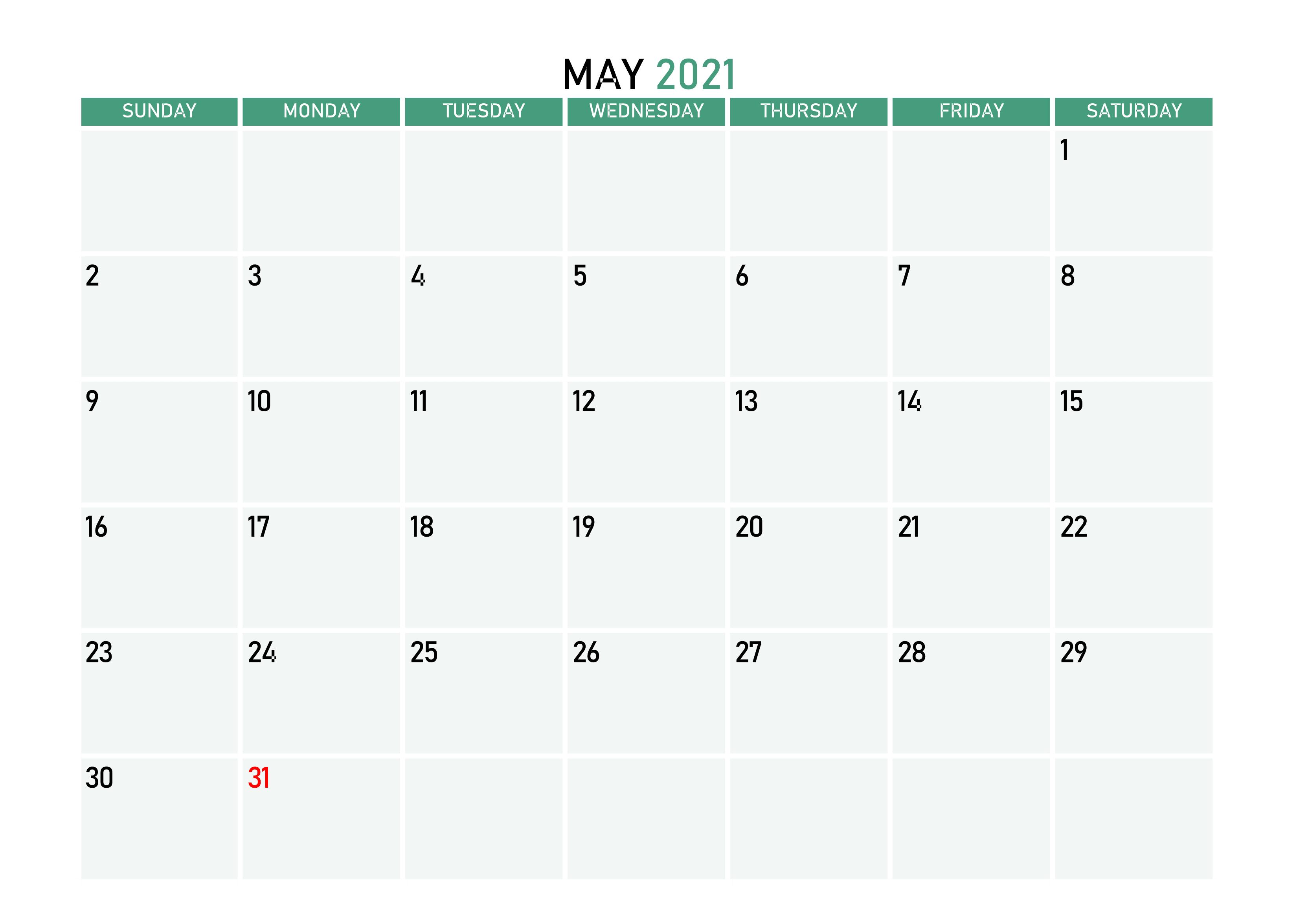 May 2021 Desk Calendar