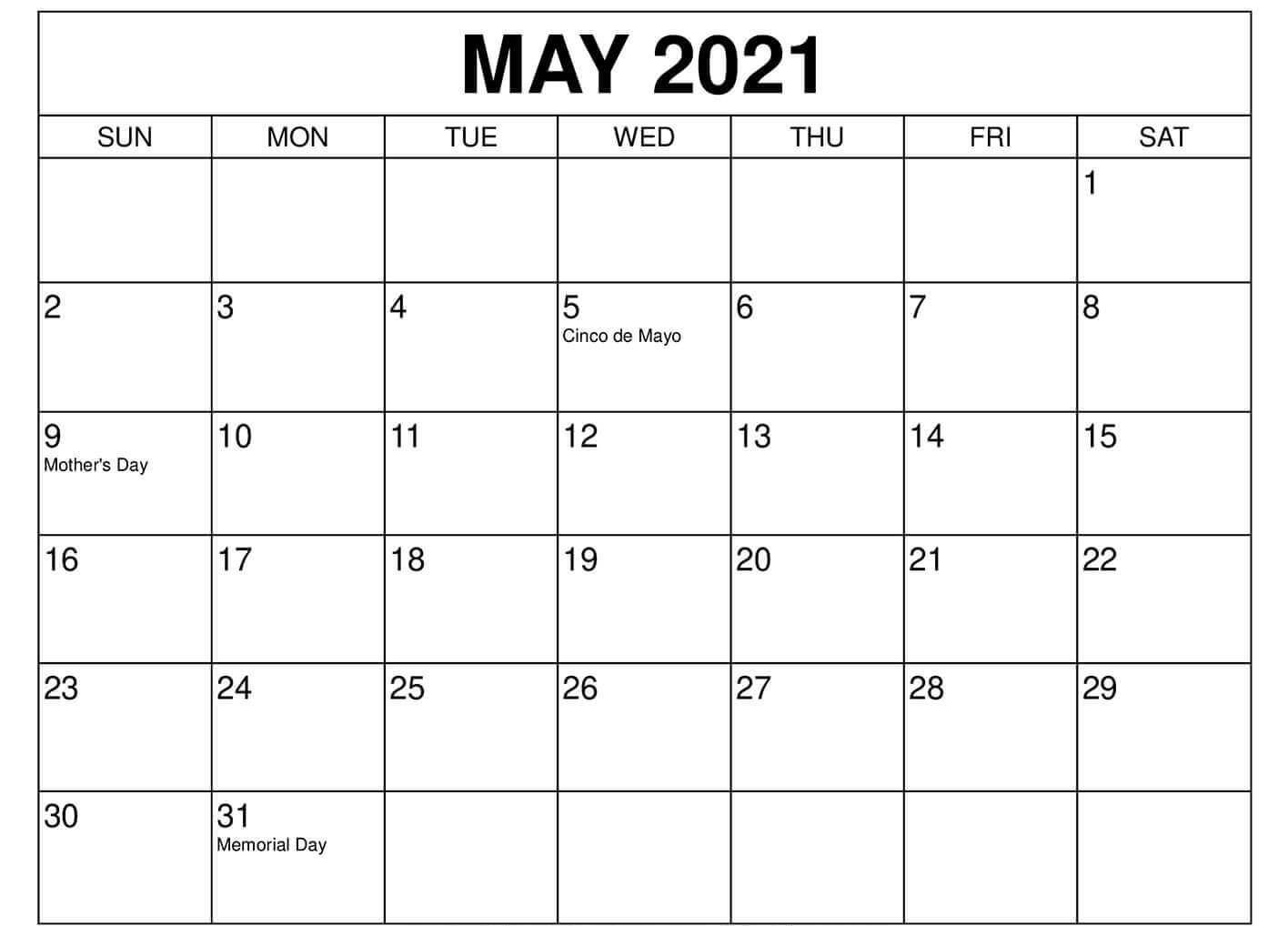 May Holidays Calendar 2021