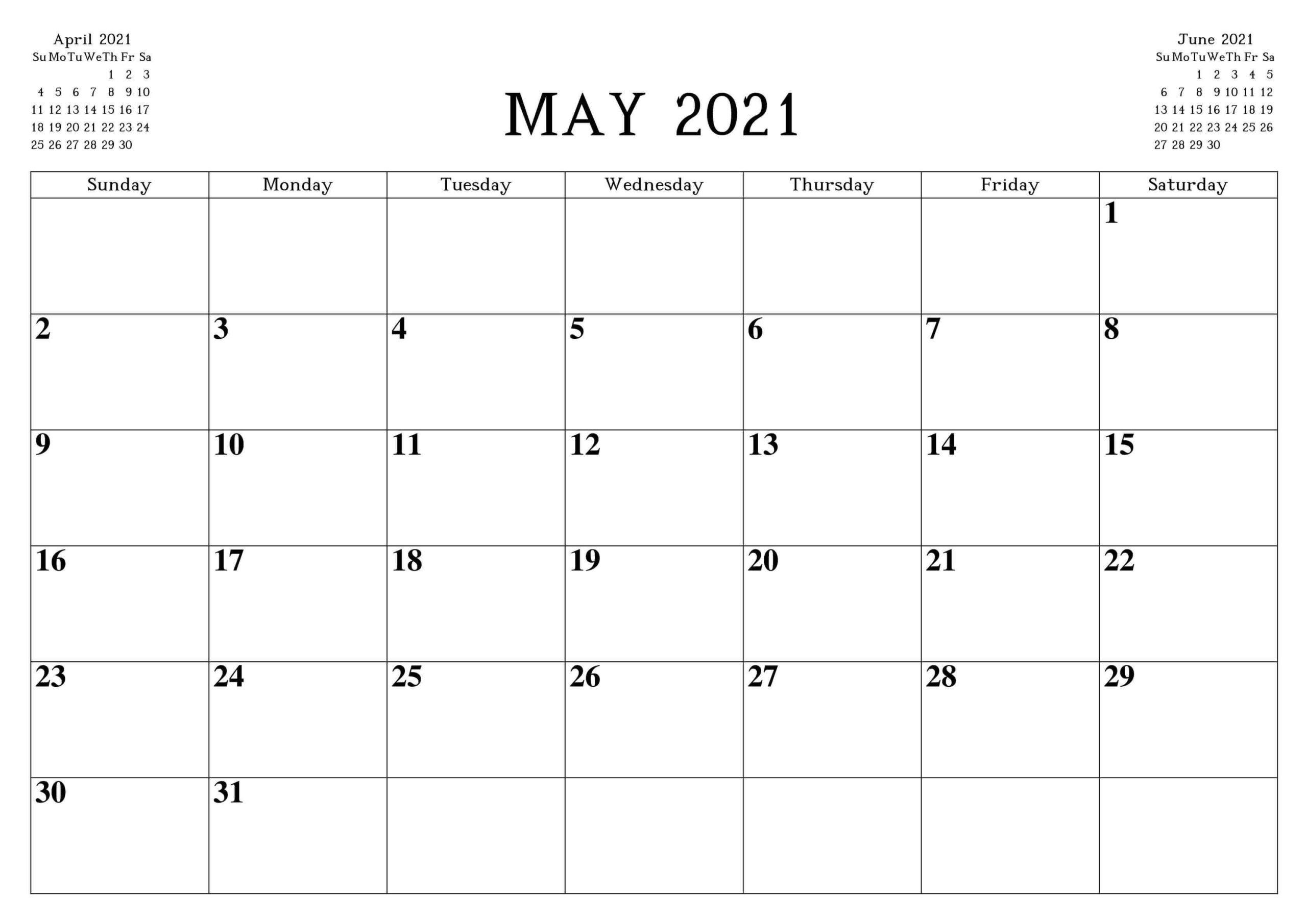 May PDF Calendar 2021