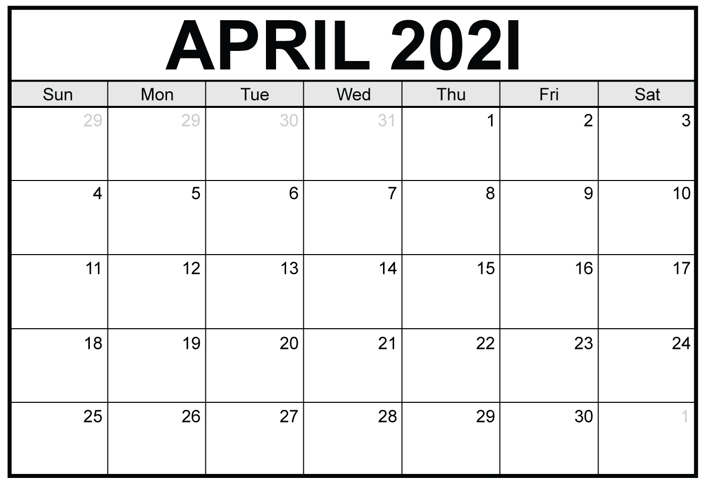 Monthly Calendar 2021 April