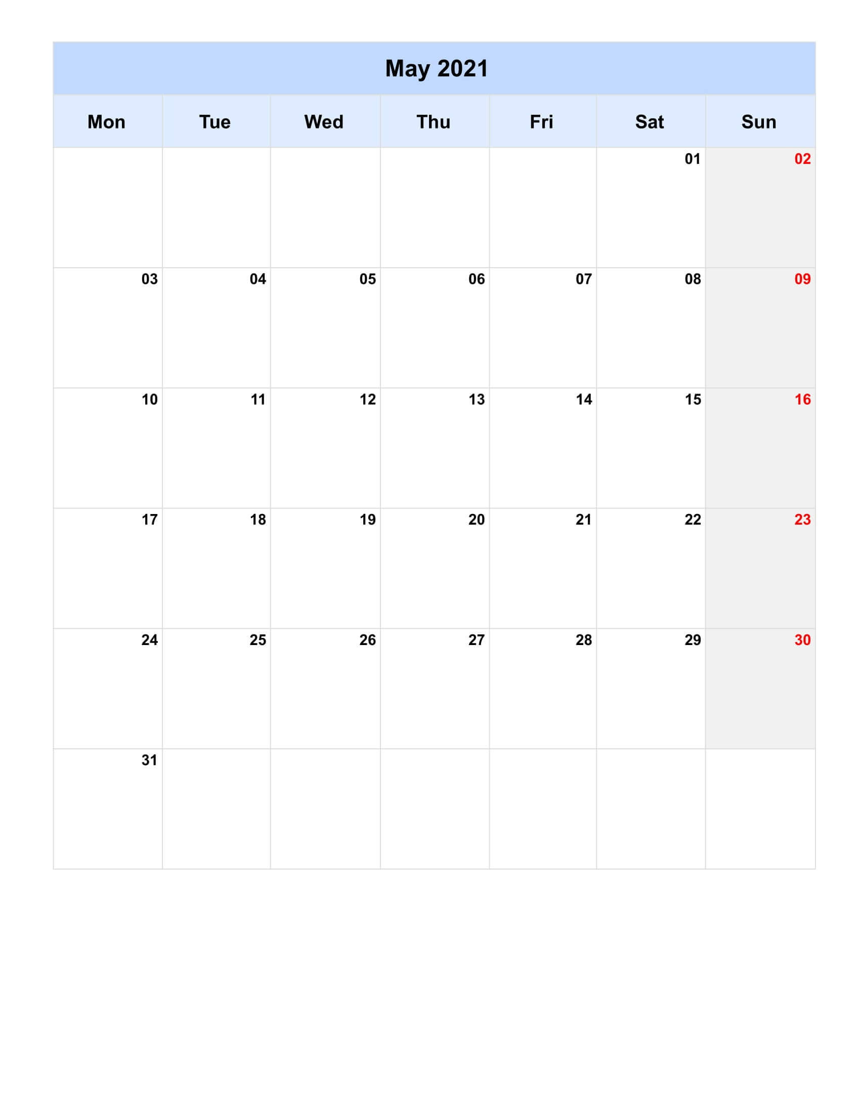 Print May 2021 Calendar Excel