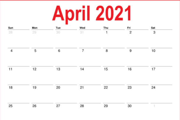Printable Monthly Calendar April 2021