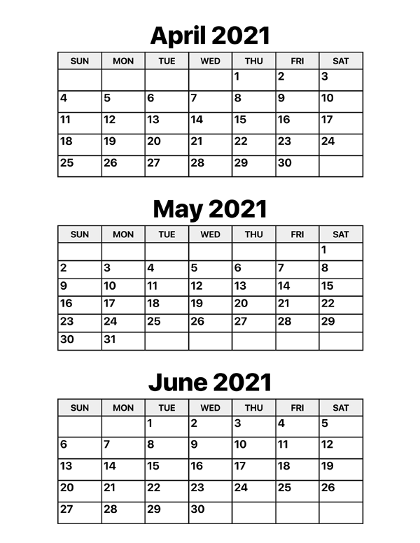 april, may and june 2021 calendar