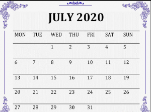 Colorful July 2020 Calendar Design