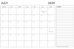 Editable July 2020 Calendar To Print