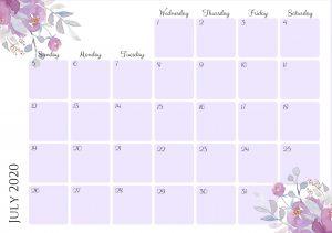 Free Printable July 2020 Calendar PDF