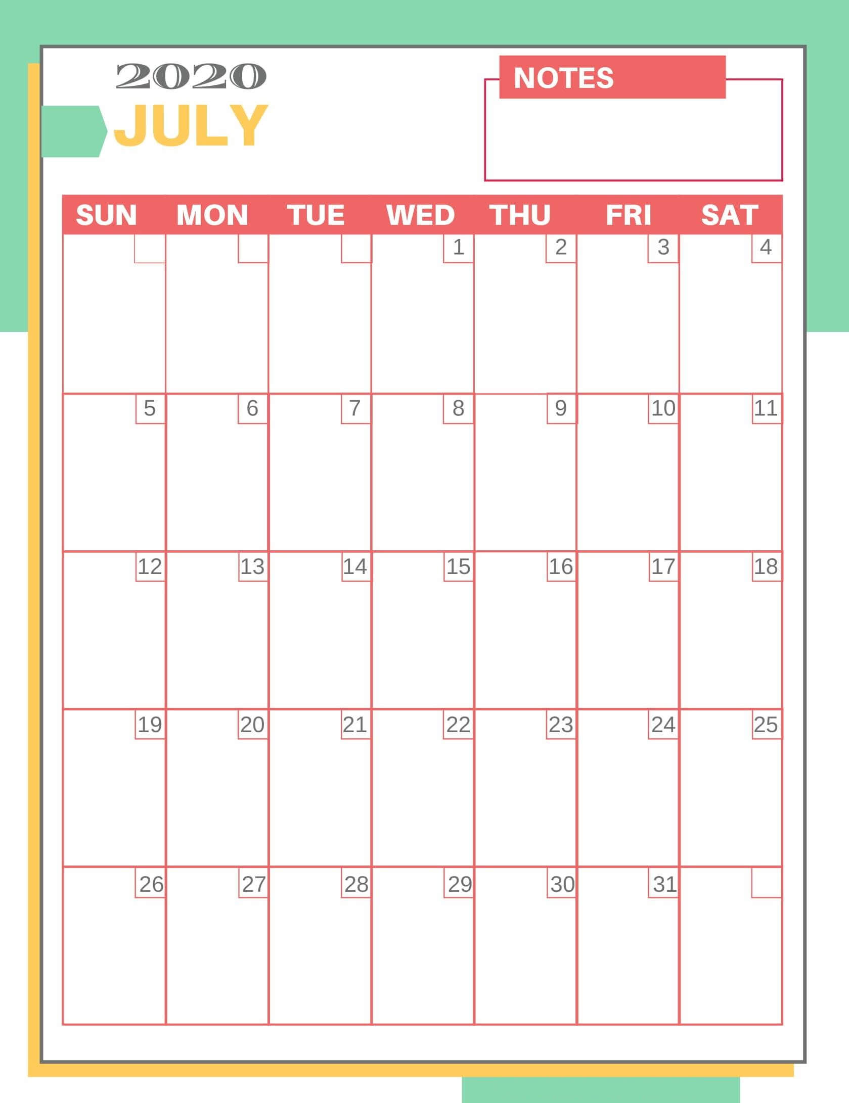 Free Printable July 2020 Calendar PDF Notes