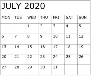 Free Printable July 2020 Calendar Word