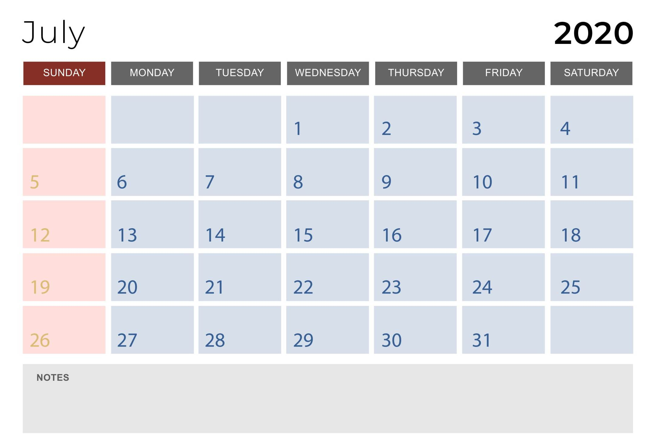 Free Printable July 2020 PDF Calendar