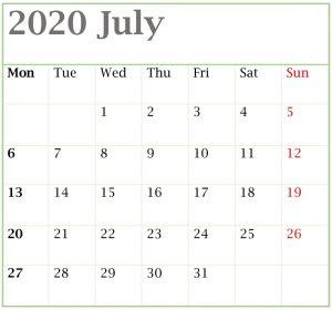 PDF Calendar July 2020 Blank Template