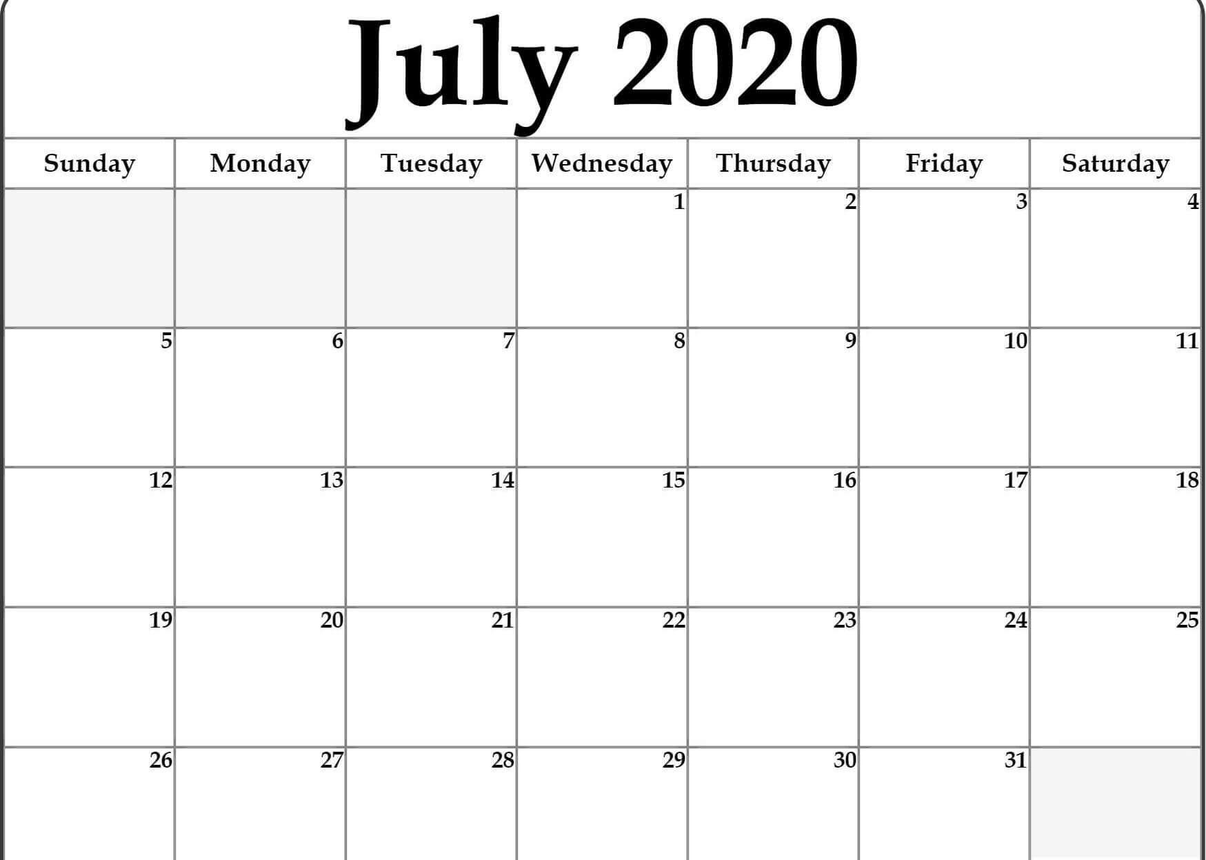 July 2020 Calendar Printable PDF