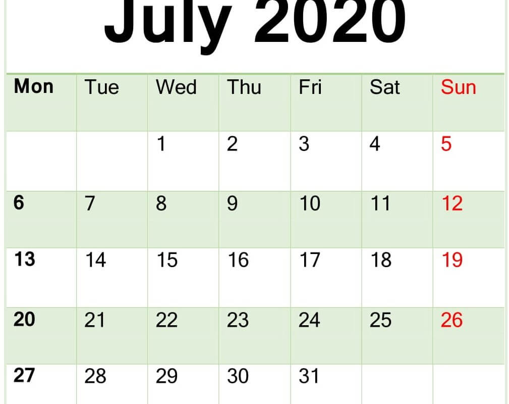 July 2020 Calendar Word Template