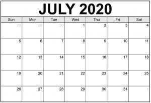 July 2020 Free Calendar Printable Excel