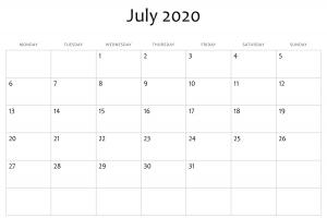July 2020 Free Printable Calendar Download