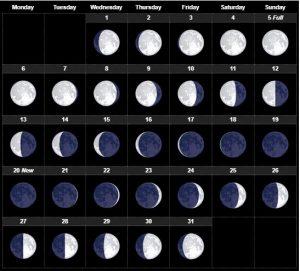 July 2020 Moon Phases calendar