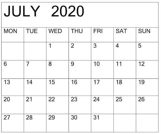 July 2020 PDF Calendar