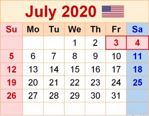 July 2020 US Calendar