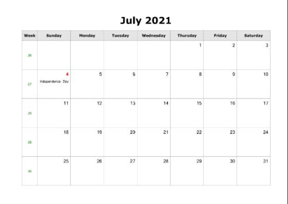 July 2021 Calendar US Printable with Federal Holidays