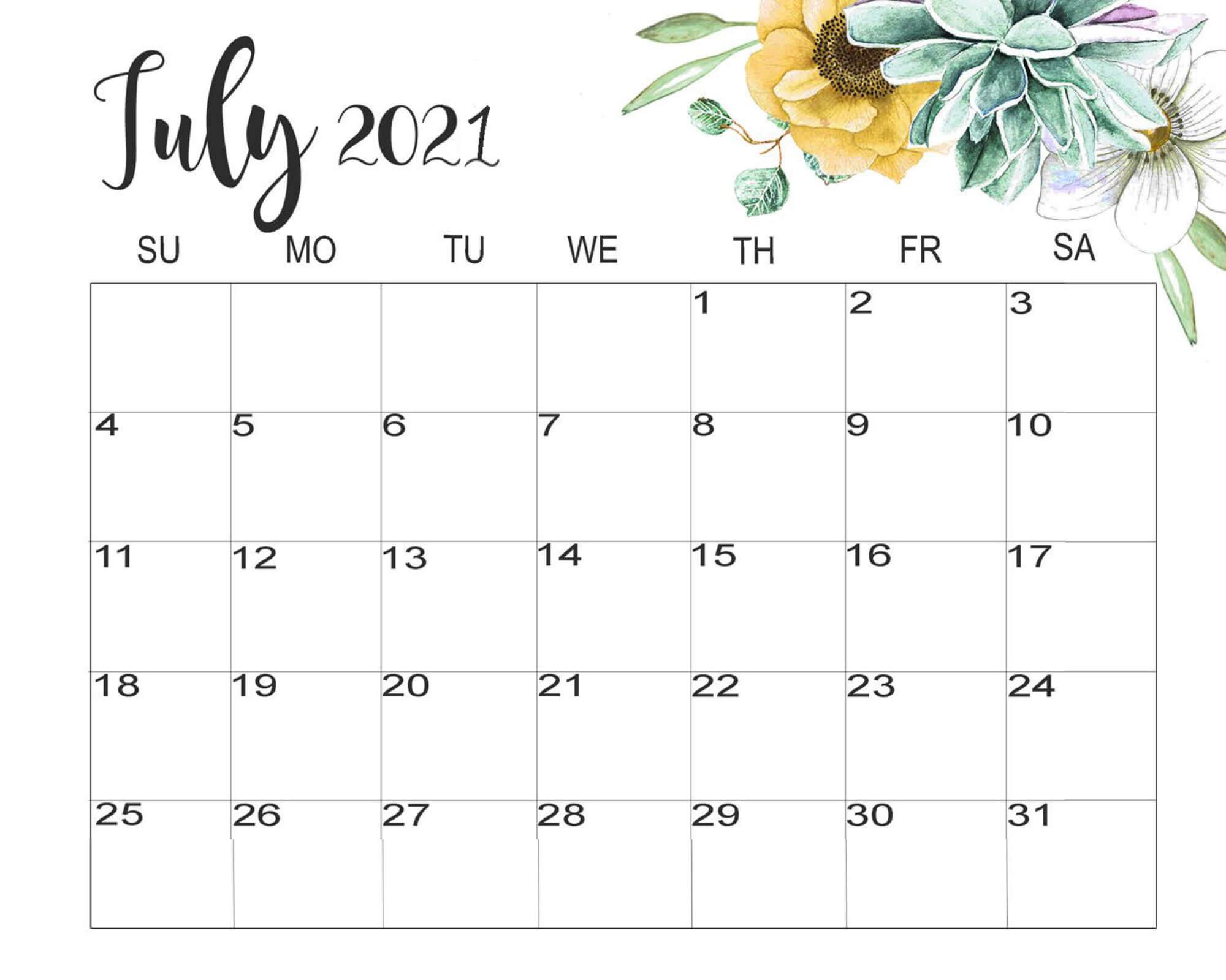 July 2021 Blank Calendar Template