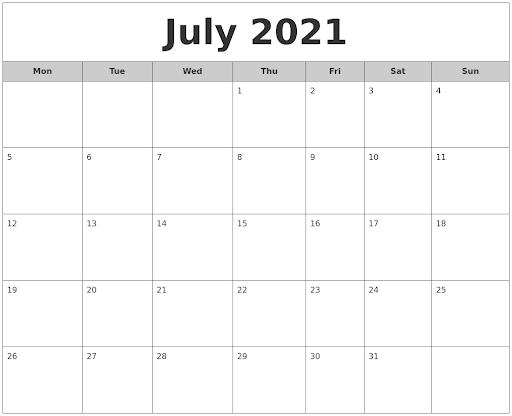 July 2021 Monthly Calendar printable