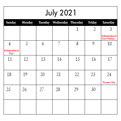 July 2021 US Calendar With Holidays
