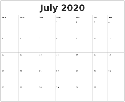 July Calendar 2020 PDF