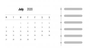 Print July 2020 Calendar Word Page