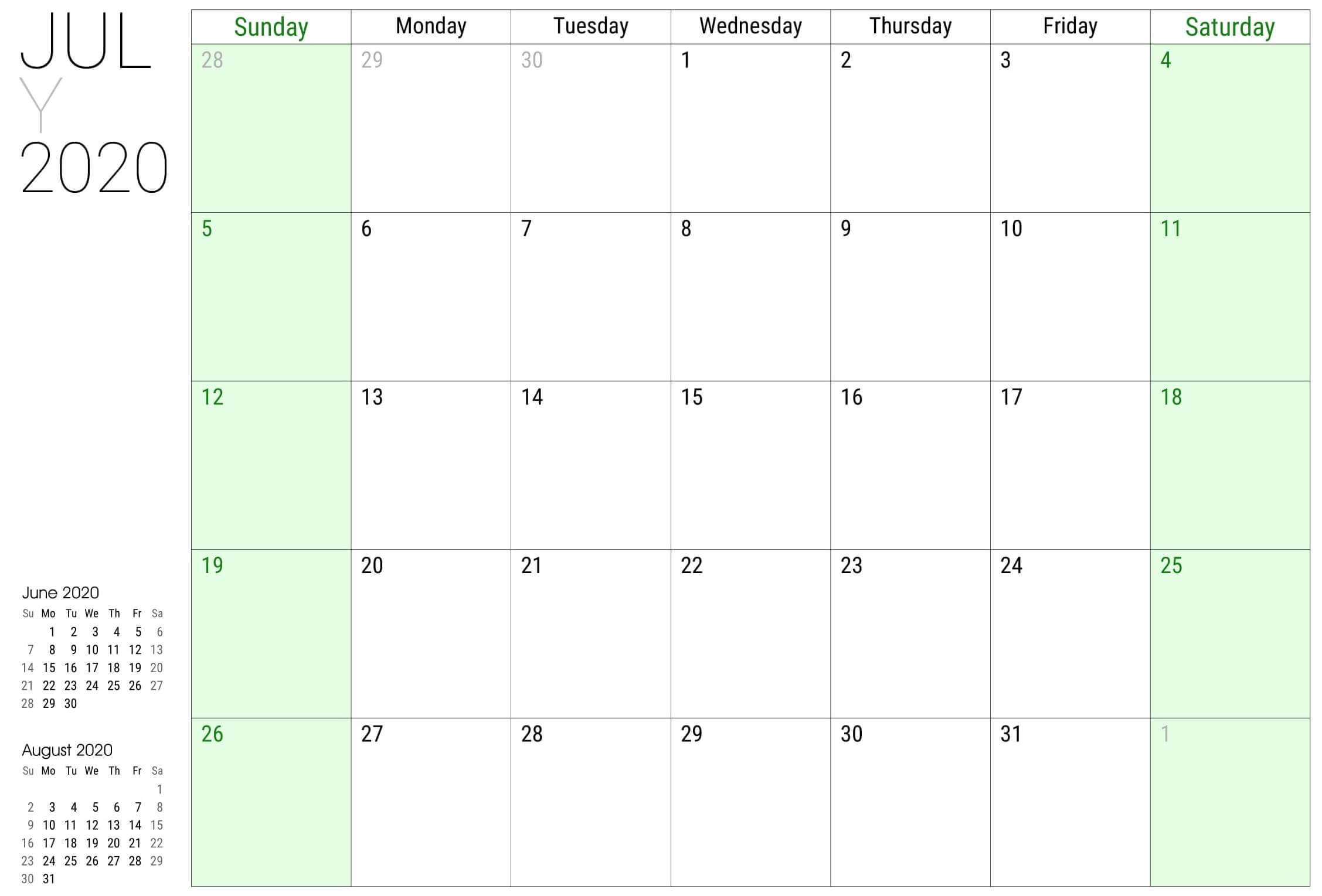 Printable July 2020 Calendar PDF