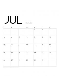 Printable July 2020 Calendar Portrait