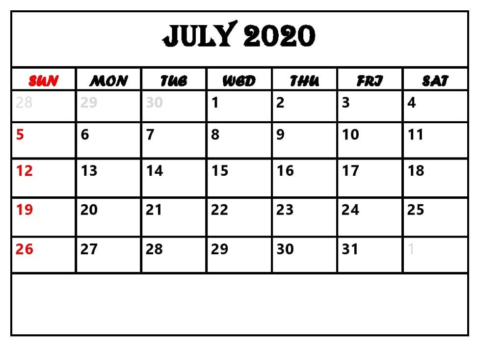 Printable July 2020 Free Calendar
