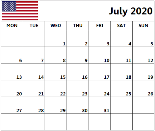 USA July 2020 Calendar