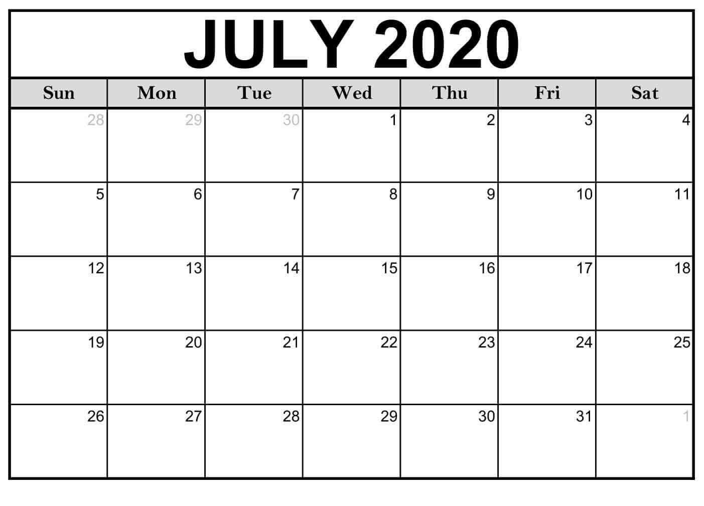 july 2020 calendar PDF Template