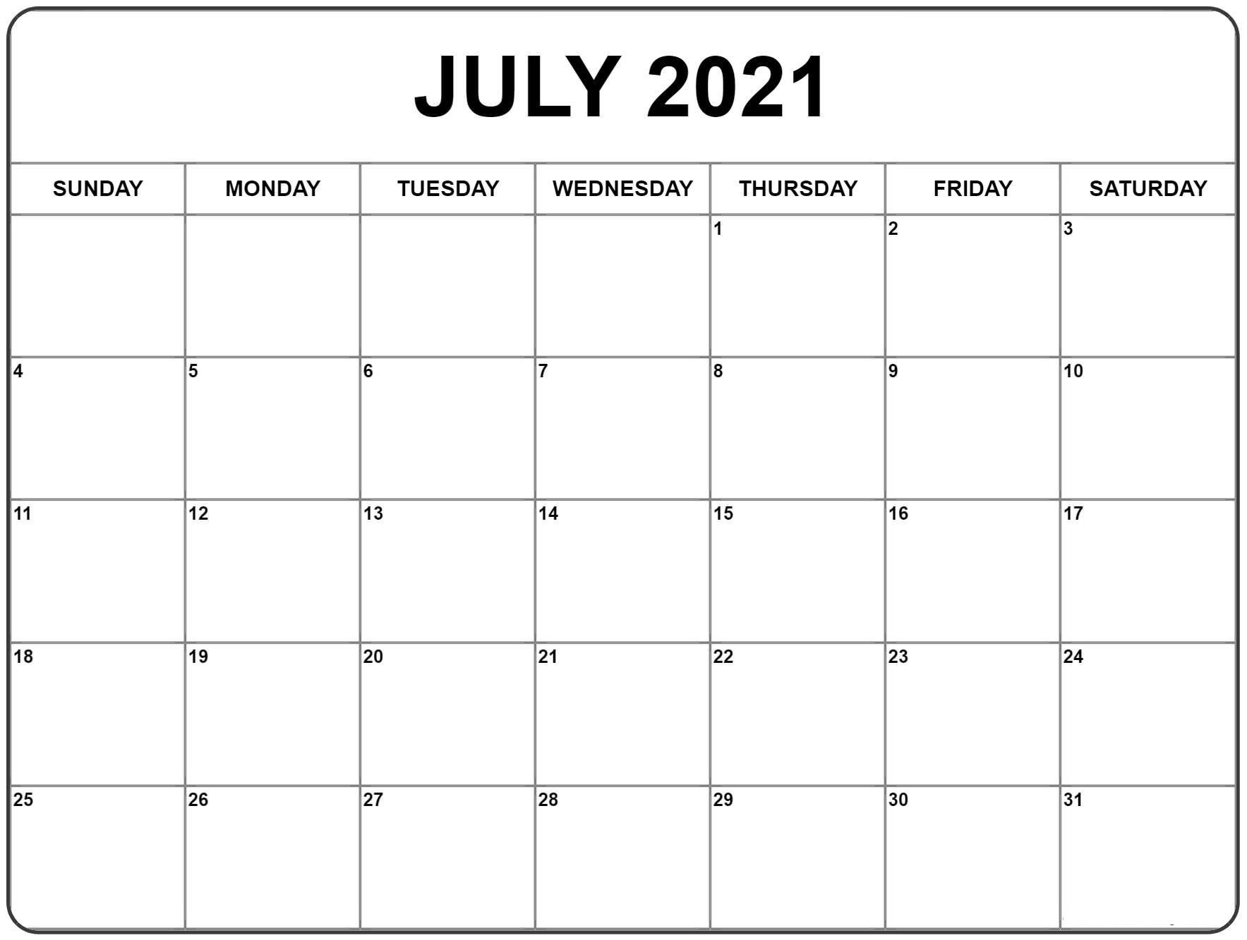 july calendar 2021 excel template