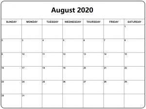 2020 Calendar August
