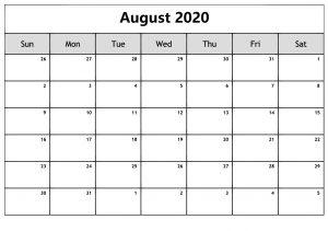 August 2020 Calendar Download
