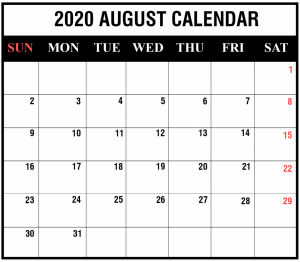 August 2020 Calendar PDF Black and White