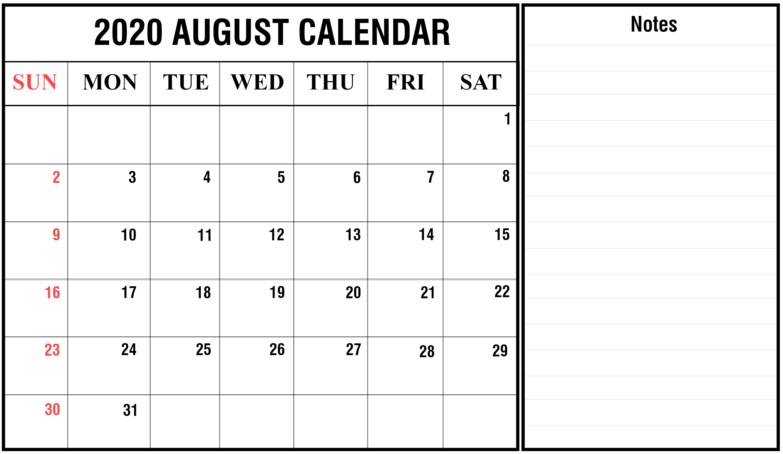 August 2020 PDF Printable Calendar