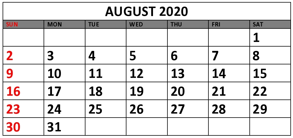 August 2020 Printable Calendar PDF