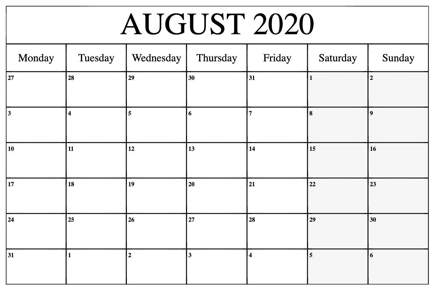 Blank August 2020 Calendar PDF