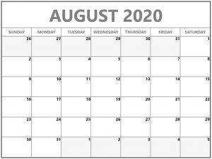 Free August 2020 Calendar Printable PDF