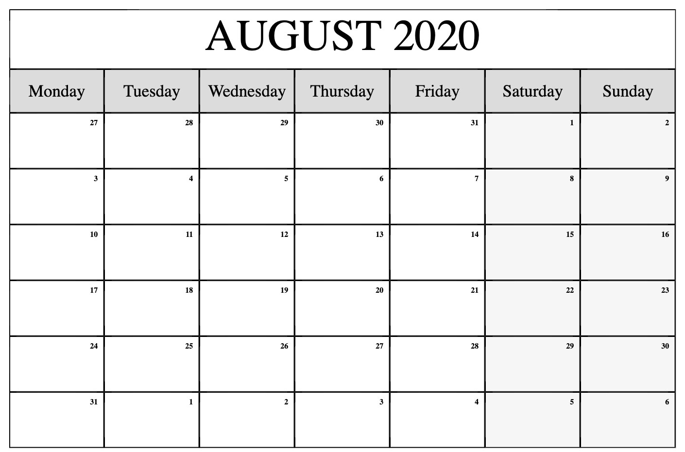 Free Printable August 2020 Calendar PDF
