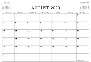 August 2020 Kalender schwarz und weiß