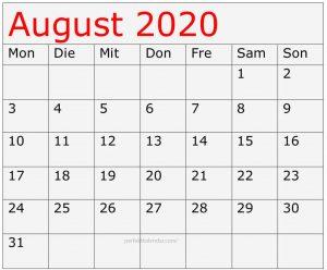 Kalender August 2020 Bilde