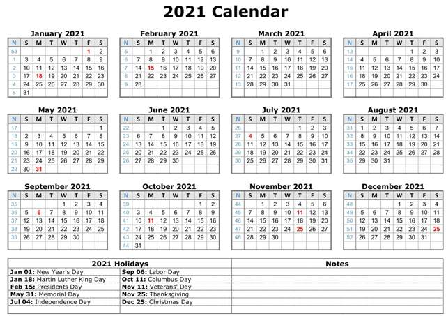 12 Month Calendar in One Page 2021