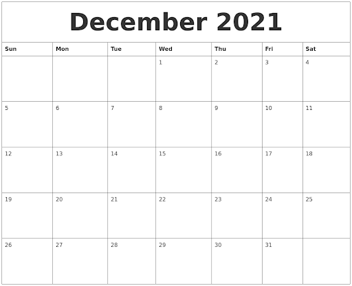 Free December 2021 Calendar Download