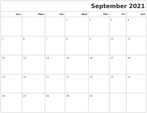 September 2021 Calendars To Print